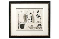Ink drawing on paper by Michel Debieve (1931 - ) France, 1965.
