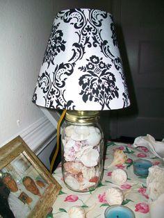 lamp. made frome mason jar, lamp kit and shells