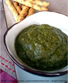 Recipe for Hari Chutney taken from www.hookedonheat.com. Visit site for detailed recipe.
