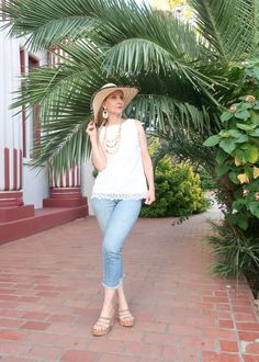 #vacationstyle #summerstyle #tropicalstyle #styleover40 #styleover40 #casualstyle #casualOOTD #sunhat #beachhat #lacetop #summercrops #beadedearrings #bohonecklace Fashion Over, Spring Fashion, Summer Holiday Outfits, Chicos Fashion, Going Out Outfits, Tropical Vibes, Summer Accessories, Summer Skirts, Lace Tops