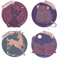 Autocollants. Kawaii/mignon maraudeurs ! Moony, Queudver, patmol et Cornedrue ! Art de Harry Potter.