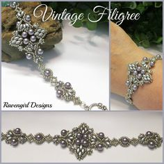 VINTAGE FILIGREE Swarovski Pearl Bead Woven Bracelet beaded by RAVENGIRL DESIGNS…