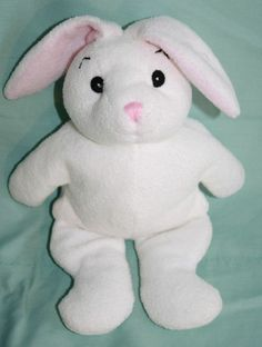 "Jaag plush Bunny Rabbit rattle white 9"" baby stuffed animal pink stitched nose"