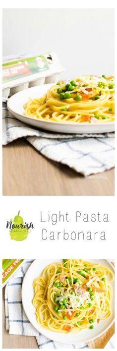15 minute Light Pasta Carbonara. It's creamy, rich, and healthier than you'd think   Nourish Nutrition Blog   www.nourishnutritionblog.com