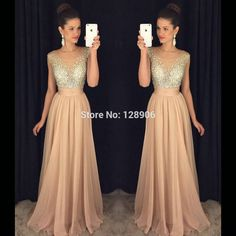 Find More Prom Dresses Information about Sexy Champagne Prom Dresses with Sheer Neckline Beaded Capped Custom Made Long Prom Party Dress 2016,High Quality champagne and black bridesmaid dresses,China champagne good Suppliers, Cheap champagne color wedding dress from Babyzone on Aliexpress.com