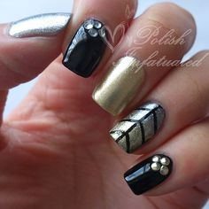 Black, silver and gold nails :) -Polish Infatuated