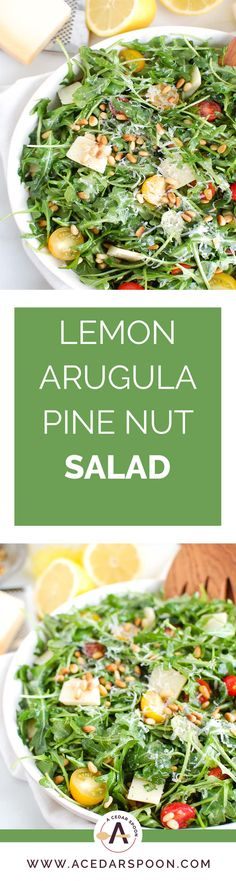 Lemon Arugula Salad With Pine Nuts Is A Quick And Easy Salad That Is Peppery, Sweet And Satisfying. Arugula Is Tossed With Cherry Tomatoes, Toasted Pine Nuts And Parmesan Cheese And Finished Off With A Lemony,Olive Oil Dressing. Best Salad Recipes, Lunch Recipes, Healthy Dinner Recipes, Vegetarian Recipes, Xmas Recipes, Muffin Recipes, Keto Recipes, Easy Salads, Healthy Salads