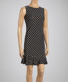 Look at this #zulilyfind! Black & White Polka Dot Ruffle Sleeveless Dress #zulilyfinds