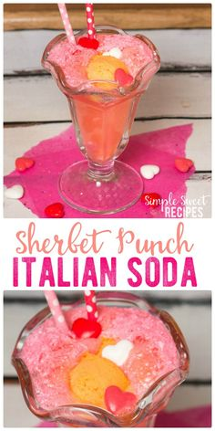 This fun, fruity, Sherbet Italian Soda Punch brings a twist on classic drink with a scoop of sherbet and bubbly Sprite. A perfect treat for Valentine's Day. via @simplesweetrecipes