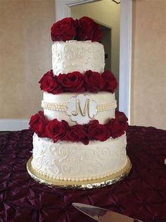 Image result for black gold and red rose wedding cake