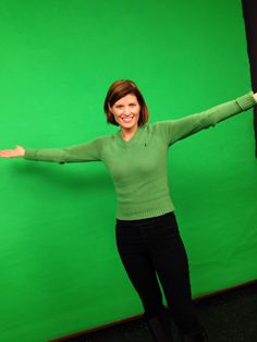 "December 9th, 2014 - here's something I rarely wear...green!  Why?  Because when I do the weather I'm standing in front of a green screen called the ""chroma key"".  Anything green keys out and weather graphics are superimposed.  In this case...I was doing weather live in Georgetown outside, so I wore my green and got away with it!  Sweater from the Polo Ralph Lauren Outlet....bought years ago in Albertville, Minnesota."