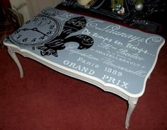 DIY Repainted, Distressed & Transfer Pattern Painted On - So Pretty!!