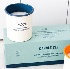 "Sideshow Press Candle Set: ""Daring with a touch of polite restraint"" strikes the perfect balance between descriptive and alluring."