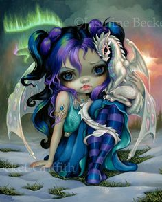 Frost Dragonling Baby Dragon Fairy by Jasmine Becket-Griffith - big eyed fantasy art, fairy with baby dragon ice dragon snow by Strangeling big eyes art
