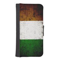 Black Grunge Ireland Flag Phone Wallet
