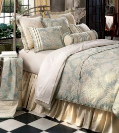 Carlyle Bedset from Eastern Accents  •Bedset includes 1 Bed Cover, 1 Bed Skirt, 1 or 2 Euro Shams, 1 or 2 Standard or King Shams, and 1 Bolster. See Bedset Details for more information