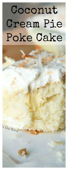 *VIDEO* Coconut Cream Pie Poke cake is a traditional cake topped with my favorite old fashioned coconut cream pie filling, whipped cream and toasted coconut. The best of both worlds! #coconut #coconutceampie #pokecake #cake #sheetcake #dessert #coconutcake #coconutcreampiepokecake #numstheword #recipe #birthday #easter #party
