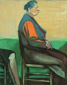 Andrzej Wróblewski oil on canvas, szkic do Ukrzysłowania