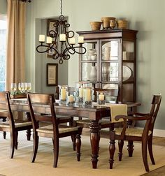 Fancy Dining Room In Traditional Designs Inspiration : Fascinating Traditional Dining Room Design with Antique Chandelier and Rectangular Wooden Dining Table also Glass Door Dining Cupboard Room Wall Colors, Dining Room Colors, Dining Room Walls, Dining Room Design, Room Chairs, Classic Dining Room Furniture, Dining Furniture, Furniture Ideas, Furniture Design