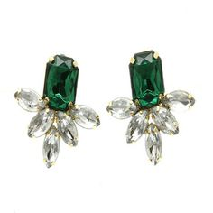 $15.00 Emerald green bridesmaids earrings. #fashion #fall #earrings #jewelry #sale #bloggers #green #crystals #studs