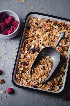 Super Simple Fruit and Nut Granola (Playful Cooking) What Are Healthy Snacks, Healthy Homemade Snacks, Eating Healthy, Healthy Eats, Breakfast Snacks, Vegan Breakfast Recipes, Breakfast Healthy, Breakfast Ideas, Vegan Granola