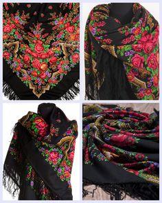 "Russian Pavlovsky Posad shawl ""Russian beauty"" ""Русская красавица"""