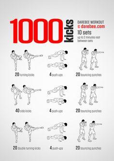 1000 Kicks Workout Boxer Workout, Boxing Training Workout, Taekwondo Training, Mma Workout, Kickboxing Workout, Calisthenics Workout, Gym Workout Tips, Workout Challenge, Muay Thai Training Workouts