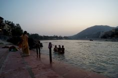Hindu's taking a dip at early evening  in the Holy River Ganges in Rishikesh, India.   #asia #india #travel #travelblog #gopro #dreamsanddives #budgettravel #ganges #river #holyriver #holy #water #chilly