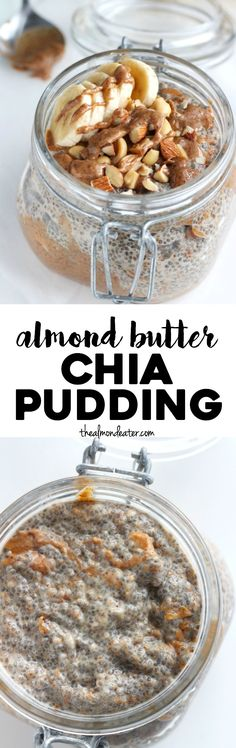 Almond Butter Chia Pudding If you love almond butter, you need to try this dreamy almond butter chia pudding. Just 5 ingredients!If you love almond butter, you need to try this dreamy almond butter chia pudding. Just 5 ingredients! Healthy Breakfast Recipes, Snack Recipes, Cooking Recipes, Fodmap Breakfast, Potluck Recipes, Vegan Recipes, Healthy Sweets, Healthy Snacks, Superfood