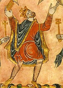A contemporary portrayal of King Edgar the Peaceful in the New Minster Charter.