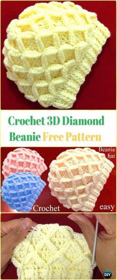 Crochet 3D Diamond Beanie Video - Crochet Beanie Hat Free Patterns