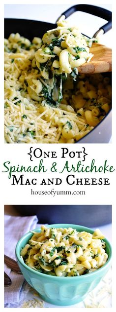 {One Pot} Spinach & Artichoke Mac and Cheese. A one dish cheesy pasta dish perfect for a family dinner. #onepotpasta:
