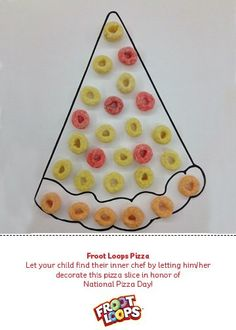 Let your child find their inner chef with this Busy Bag! They can decorate this pizza slice with Froot Loops for National Pizza Day! Daycare Crafts, Toddler Crafts, Toddler Activities, Crafts For Kids, Fall Preschool, Preschool Activities, Apple Activities, Winter Activities, Pizza Craft