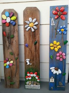 20 Cool DIY Ideas To Spice Up Garden with Pebbles Art Looking aweso. - 20 Cool DIY Ideas To Spice Up Garden with Pebbles Art Looking awesome DIY pebble art i - Stone Crafts, Rock Crafts, Arts And Crafts, Diy Garden Projects, Garden Crafts, Garden Ideas, Yard Art Crafts, Art Pierre, Rock Flowers