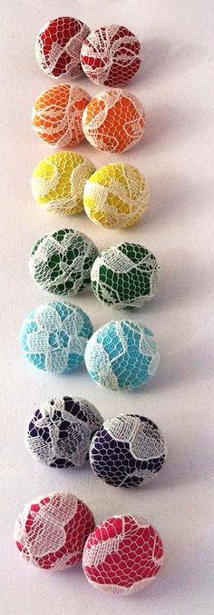 Rainbow lace fabric button earrings. $6.00, via Etsy.