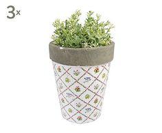 Set di 3 vasetti in ceramica Botanic - 13x13x16 cm 19e su Dalani