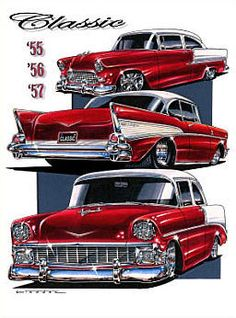 Chevrolet Bel Air, 57 Chevy Bel Air, Chevrolet Chevelle, Classic Trucks, Classic Cars, Cool Car Drawings, Cool Old Cars, Rockabilly Cars, Vw Vintage