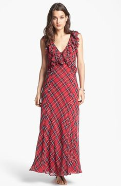 Free People 'Venitia' Ruffled Plaid Maxi Dress available at #Nordstrom