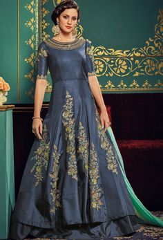 Semi Stitched #Steel #Blue Paper #Silk #Anarkali #Suit #nikvik  #usa #designer #australia #canada #freeshipping #fashion #dress #suits