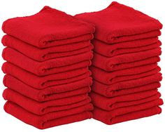 Shop Towels (Pack of 25, 14 X 14 Inch) Commercial Grade Machine Washable Cotton Washcloths Lint Free Red Shop Rag - Perfect for Auto Mechanic Work by Utopia Towel