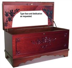 This wonderful Medium blanket and hope chest by Amish builders is done by a small group of Amish craftsmen who do the carving before the Cherry Hope chest is finished in two coats of a very durable finish. The chests are assembled from glued up strips of Oak or Cherry hardwood. (Shown in Cherry.) Engraved as requested and roses patterns as shown. The chest bottom is LINED WITH AROMATIC CEDAR to protect the contents from damaging insects. A CHILD PROTECTION LOCK is desig...