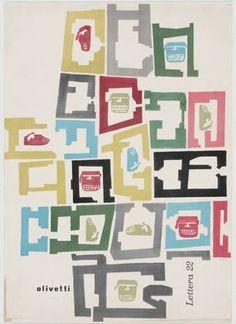 Giovanni Pintori Olivetti Lettera 22 c. Vintage Italian Posters, Vintage Graphic, Lino Art, Advertising And Promotion, Art Deco, Poster Ads, Graphic Posters, Photocollage, Estilo Retro