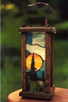 Sweet! Stained glass lantern.