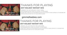 """Play Coca-Cola's Holiday instant win game. You can play up to 20 times a day. I played all 20 and got a free AMC movie ticket and 2 drinks. Prize(s): 50 Gaming Platform Prizes: An Xbox One, all details determined by Sponsor, in its sole discretion. Approximate Retail Value (""""ARV""""): $280. 10 Fire Stick Prizes: An Amazon Fire Stick. ARV: $40. 100,000 Shutterfly Prizes: A digital code valid for $25 off any Shutterfly purchase, terms and conditions apply. Expires 1/31/18. ARV: $25. ..."""