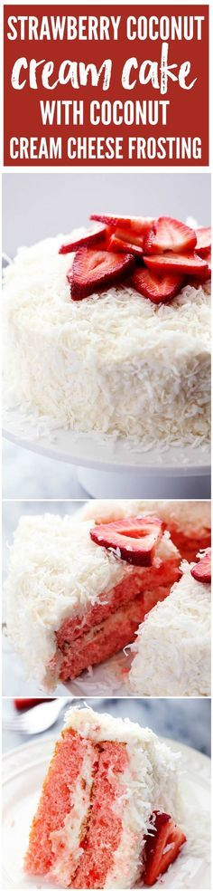 A delicious and moist strawberry coconut cream cake with an amazing coconut cream cheese frosting!: