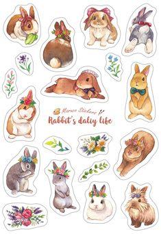 兔子日常生活-白底刀模貼紙 - 設計師 Maruco小畫室 - Pinkoi