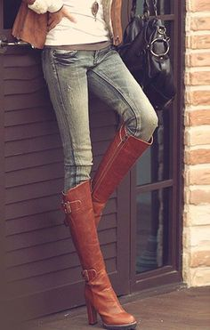 brown over the knee boots - I die! luV!!! find more women fashion on misspool.com