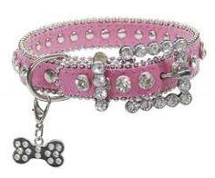 Image result for dog collar pink rhinestone