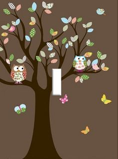 owl Light Switch Plate cover Kids Room Home decor Unique owls Theme boy or girl on Etsy, $6.99