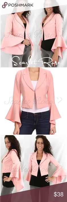 🌹Blush/Light Pink Asymmetric Sleeve Blazers🌹 This Boutique Quality solid blush/pink fitted blazer is sure to make a statement with its' hook and eye closure and long bell, cascading asymmetric sleeves. I love that blazers are 'in' right now! The bell sleeves are so different from your typical blazer. This would look great dressed up or dressed down. This fits true to size - S(2-4), M(6-8), L(10-12). The models are wearing a size Small. Limited quantities of this item, so get your size now…